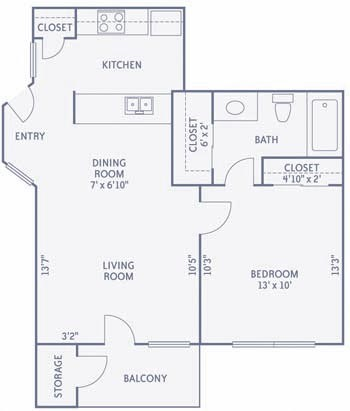 595 sq. ft. to 597 sq. ft. A4/A2C floor plan