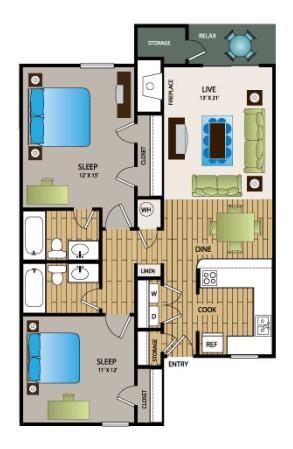 990 sq. ft. B3 floor plan