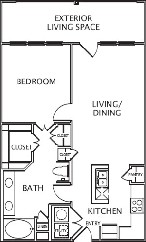 825 sq. ft. Alejandra floor plan
