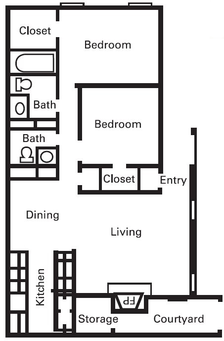 930 sq. ft. B2-4PLEX floor plan