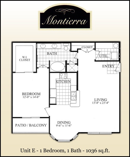 1,036 sq. ft. E floor plan