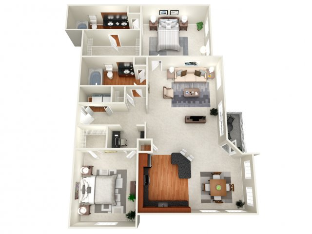 1,262 sq. ft. E floor plan