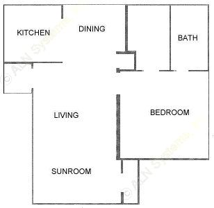 623 sq. ft. A2 floor plan