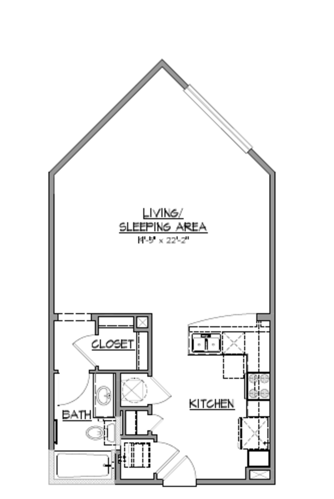 673 sq. ft. A3 floor plan