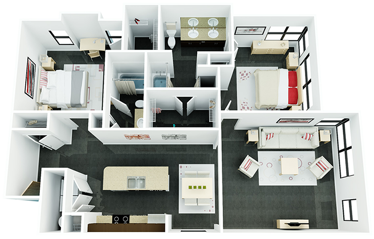 1,070 sq. ft. B2 floor plan