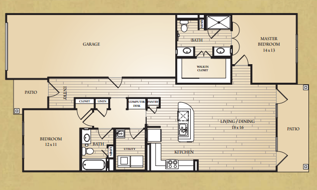 1,462 sq. ft. Frio Villa floor plan