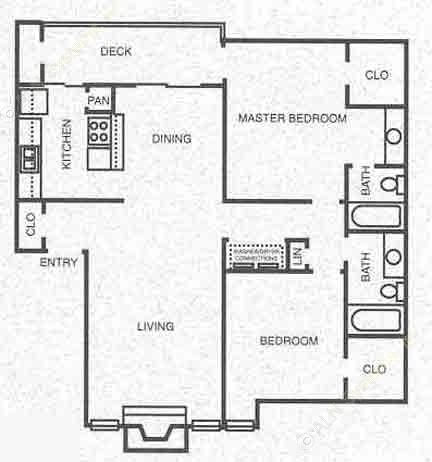 1,016 sq. ft. B3 floor plan