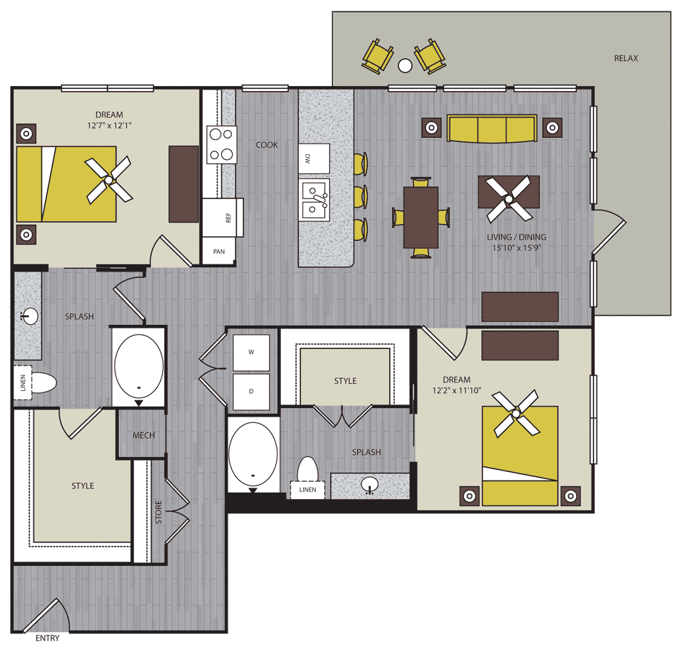 1,234 sq. ft. to 1,241 sq. ft. B4 floor plan