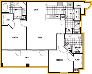 1,122 sq. ft. Barcelona floor plan