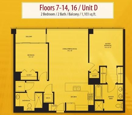 1,103 sq. ft. D floor plan