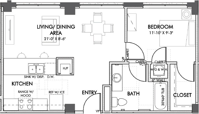 638 sq. ft. Commerce 60% floor plan