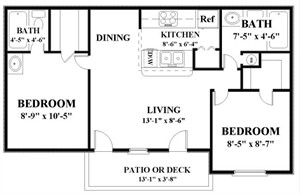 897 sq. ft. BRIDGEMONT floor plan