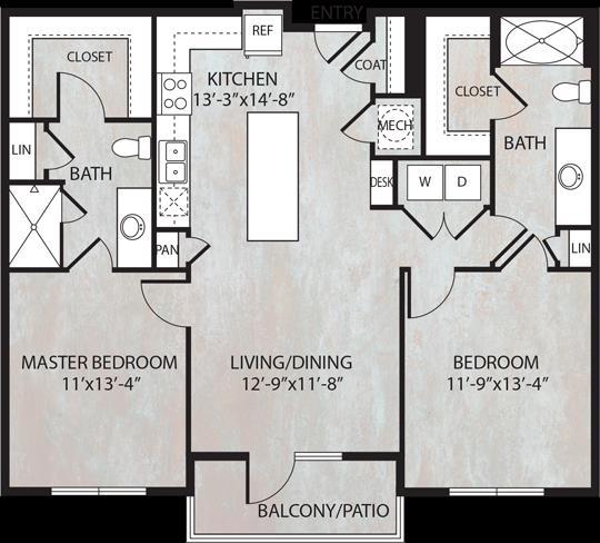 1,081 sq. ft. B2 floor plan
