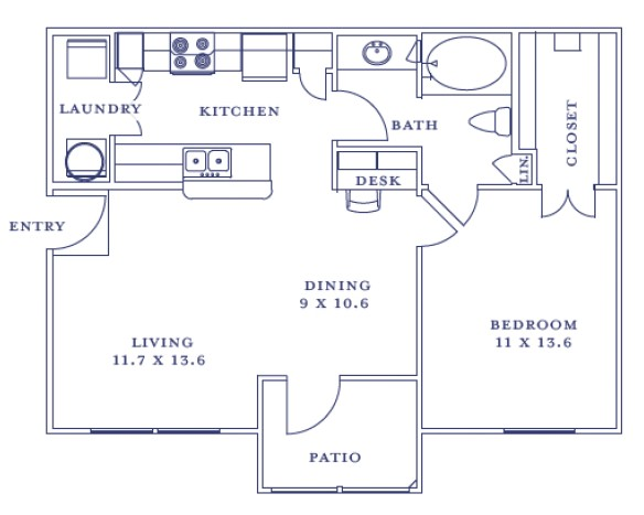 721 sq. ft. to 726 sq. ft. A1-A4/60% floor plan