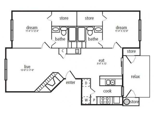 1,060 sq. ft. Dogwood floor plan