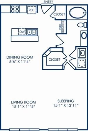 797 sq. ft. A3B floor plan