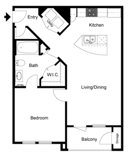 741 sq. ft. Birch floor plan