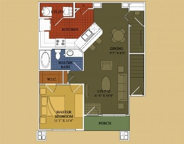 772 sq. ft. Juniper floor plan