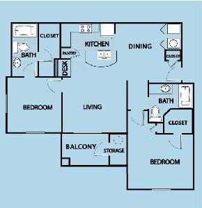 1,150 sq. ft. B3 GAR floor plan