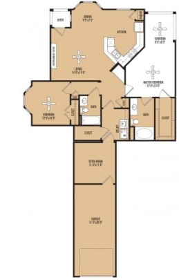 1,440 sq. ft. Fusion w/Garage floor plan