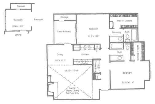1,085 sq. ft. Hanover floor plan