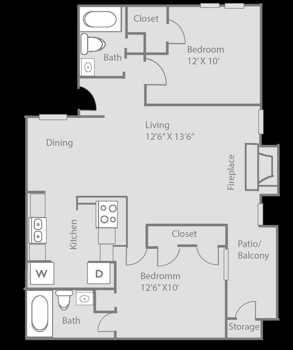873 sq. ft. Kingston floor plan