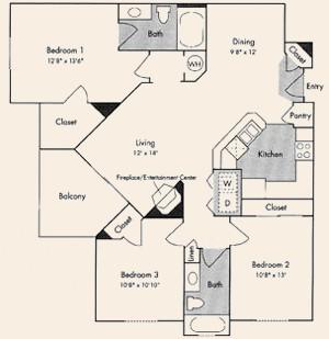 1,254 sq. ft. C1 floor plan