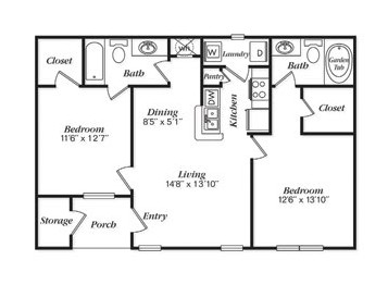 985 sq. ft. B3L floor plan