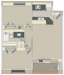 770 sq. ft. Small 2x1 floor plan