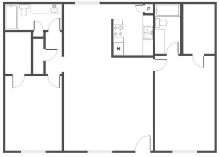 1,316 sq. ft. B3 floor plan