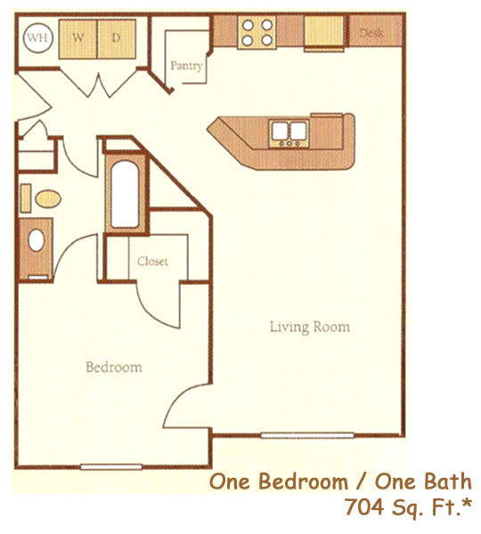 704 sq. ft. 60% floor plan