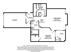 711 sq. ft. A1-3rd floor plan