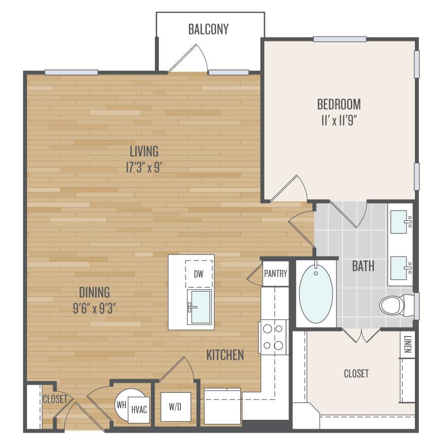 855 sq. ft. A8 floor plan