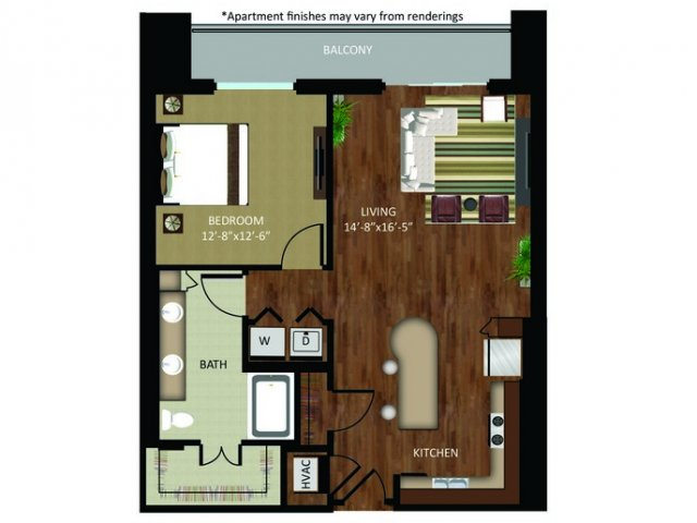 928 sq. ft. A19 floor plan