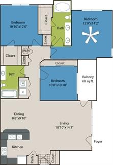 1,338 sq. ft. C1 floor plan