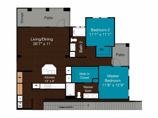 1,215 sq. ft. B3 floor plan