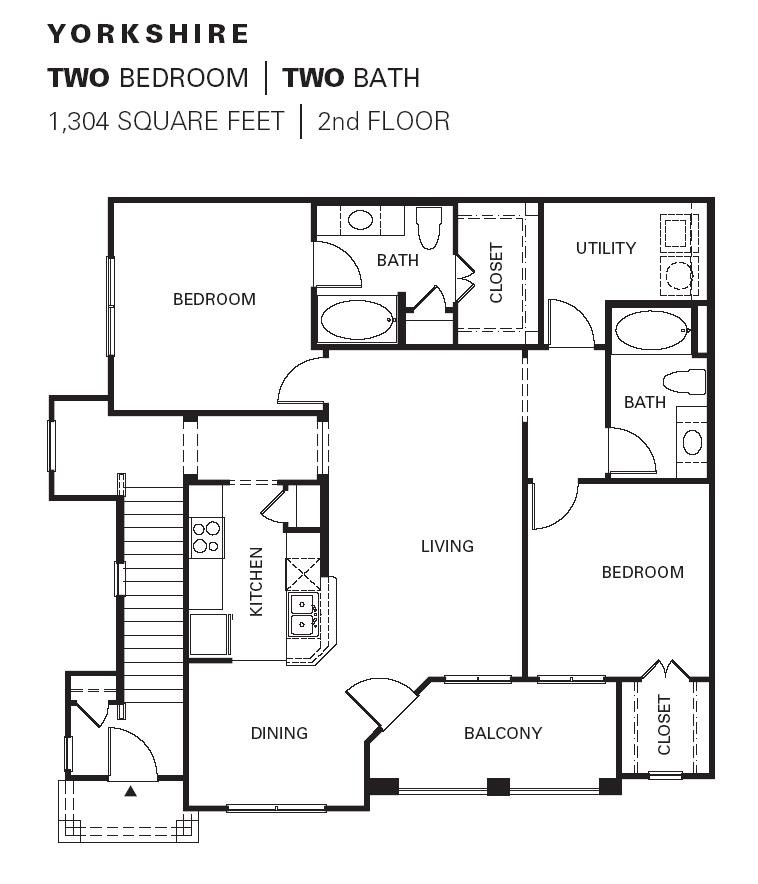 1,304 sq. ft. YORKSHIRE floor plan
