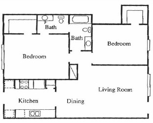 1,128 sq. ft. B floor plan