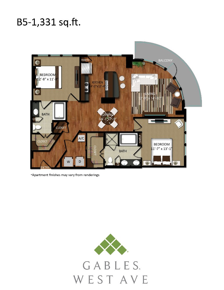 1,331 sq. ft. B5 floor plan