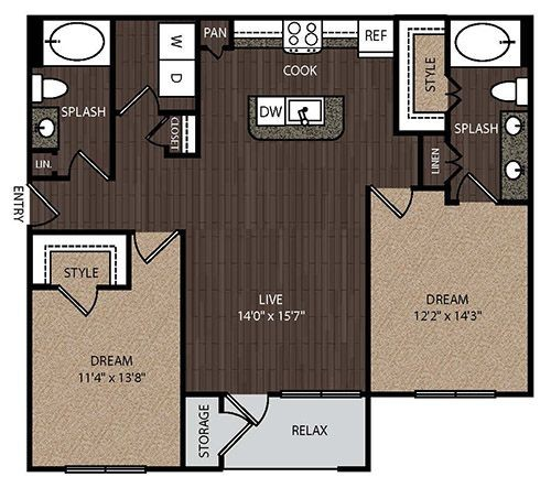 1,126 sq. ft. C2 floor plan