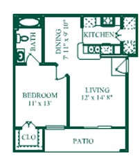 620 sq. ft. Lafete/A1 floor plan