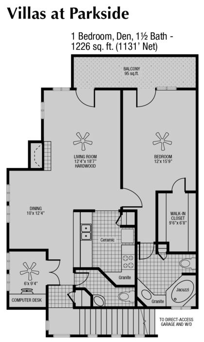 1,131 sq. ft. to 1,226 sq. ft. C floor plan