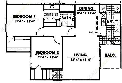 984 sq. ft. B1 floor plan