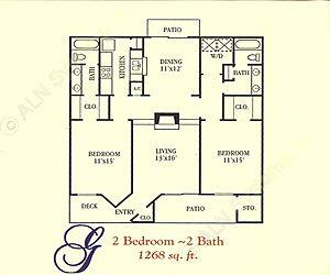 1,268 sq. ft. G floor plan