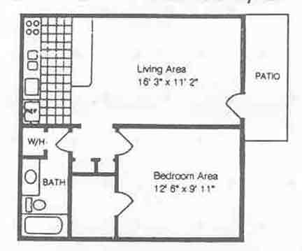 516 sq. ft. A2/50% floor plan