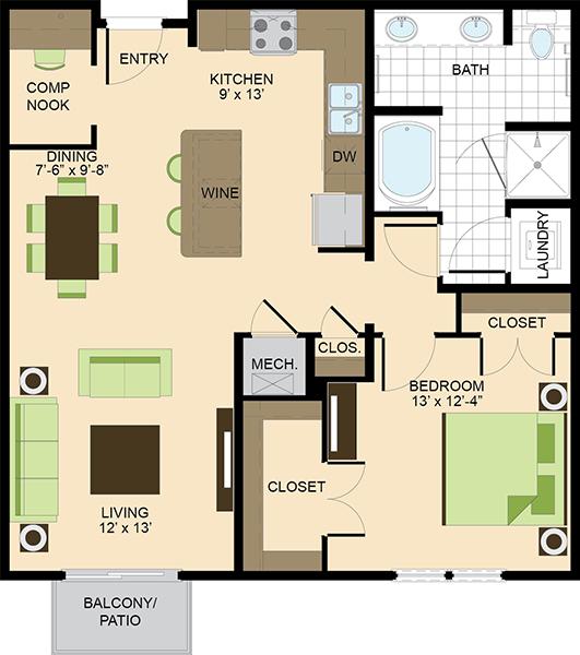 941 sq. ft. A3 floor plan