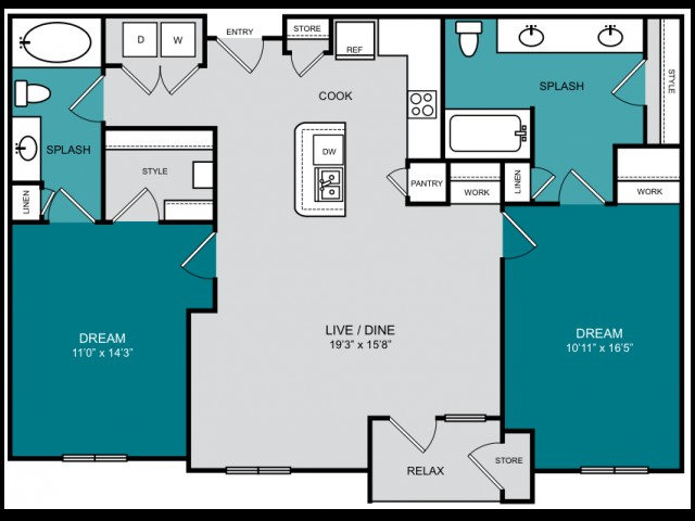 1,186 sq. ft. B3 HIGHLAND floor plan