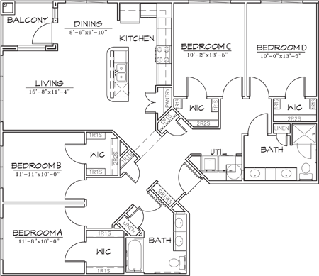 1,504 sq. ft. D2 floor plan