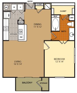 895 sq. ft. A8 floor plan