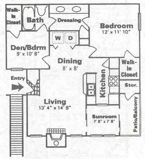830 sq. ft. D floor plan